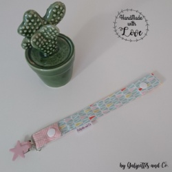 Attache Tétine (Graphique Vert mint-Rose)
